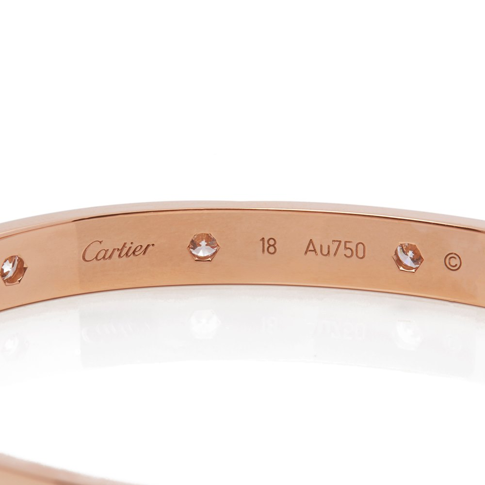 Cartier Cartier 18k Rose Gold 10 Diamond Love Bracelet