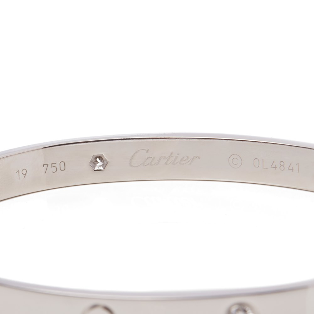 Cartier 18k White Gold 4 Diamond Love Bracelet
