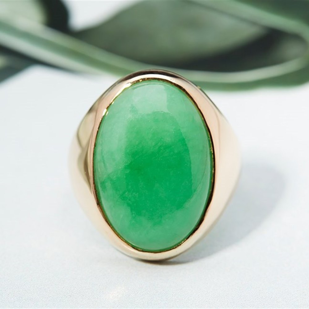 14K Yellow Gold Chinese Jade 14K Yellow Gold Ring