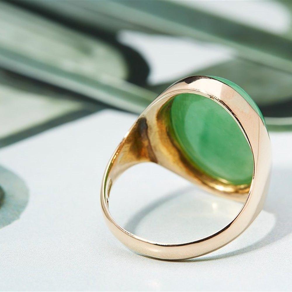 14K Yellow Gold  Chinese Jade 14K Yellow Gold Ring