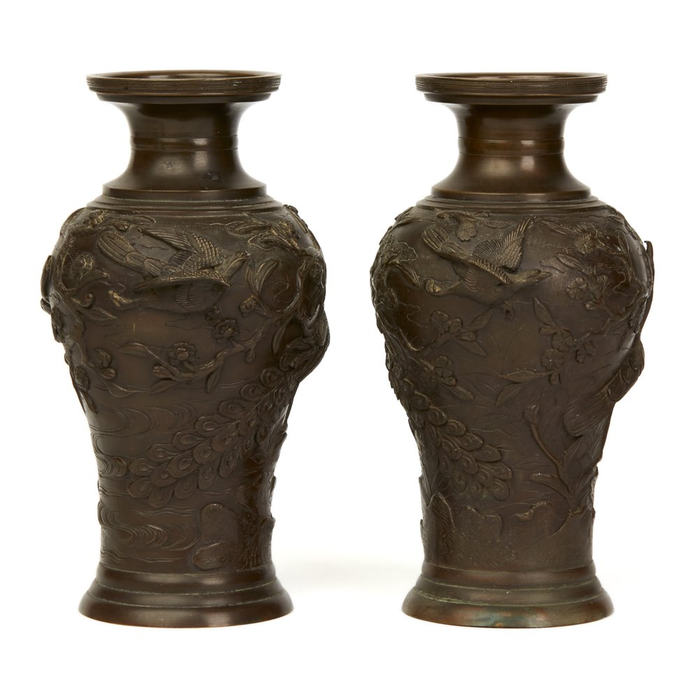 Japanese Meiji Bronze Vases 19th C. Meiji 1868 - 1912 but possibly earlier