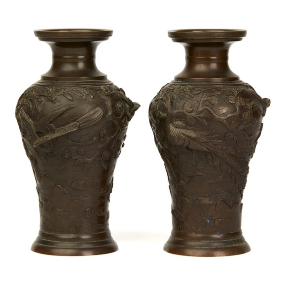 PAIR SIGNED JAPANESE MEIJI BRONZE VASES WITH BIRDS 19TH C.