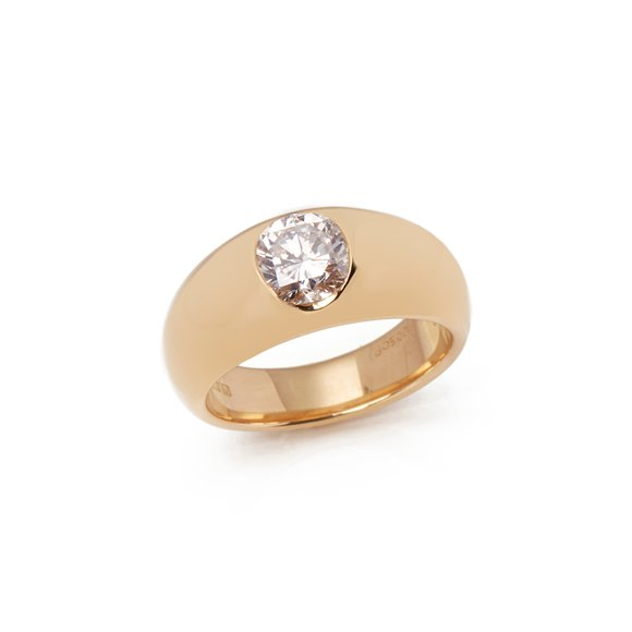Cartier 18k Yellow Gold Solitaire Diamond Dome Ring
