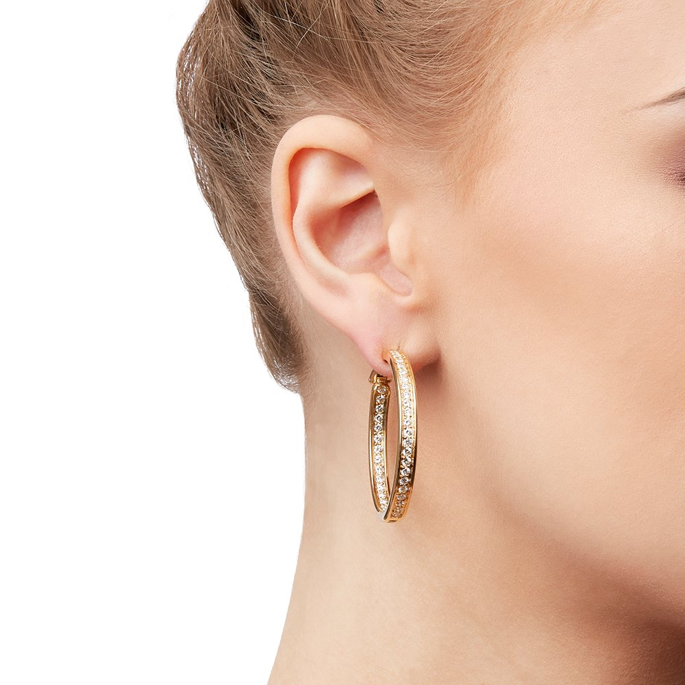 Cartier 18k Yellow Gold Diamond Inside Out Hoop Earrings