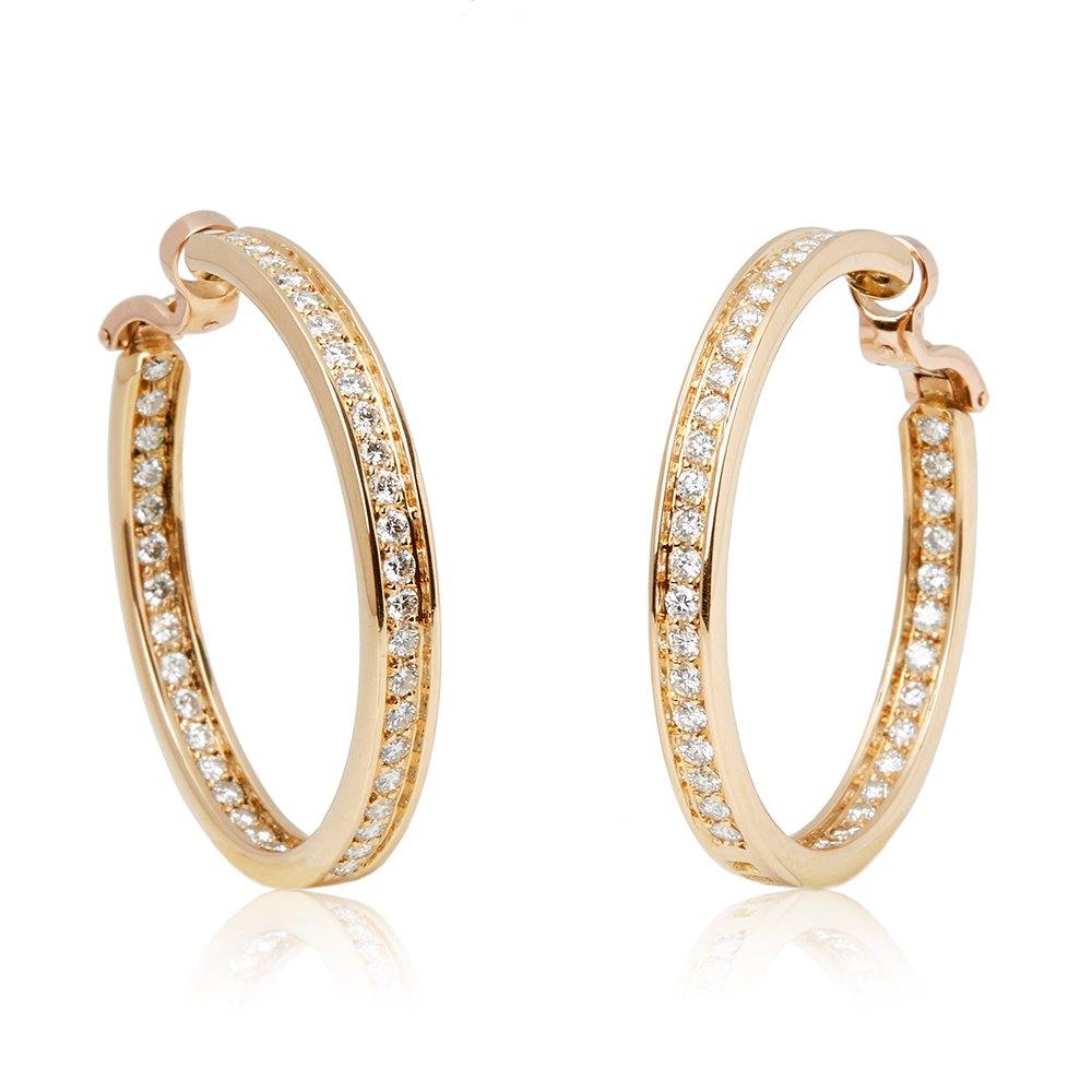 18k Yellow Gold Diamond Inside Out Hoop Earrings