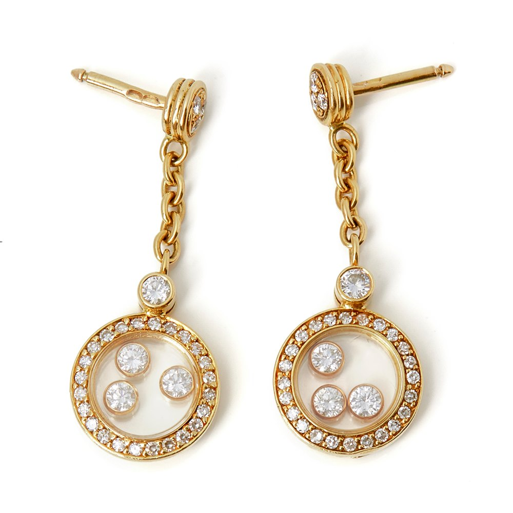 Chopard 18k Yellow Gold Happy Diamonds Drop Earrings