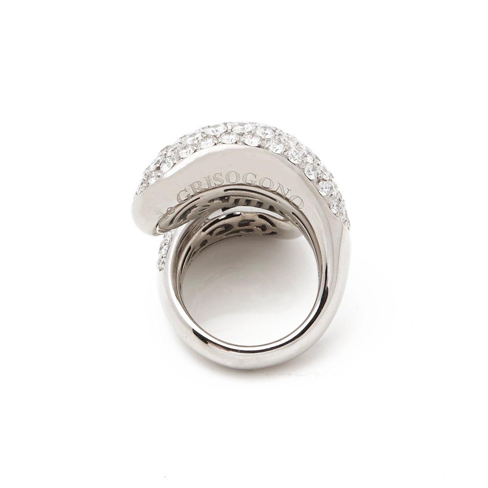De Grisogono 18k White Gold Diamond Contrario Cocktail Ring