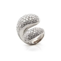 De Grisogono 18k White Gold Diamond Contrario Ring