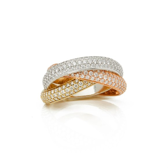 Cartier 18k Yellow, White & Rose Gold Diamond Classic Trinity Ring