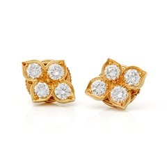 Cartier 18k Yellow Gold Diamond Vintage Inde Mystérieuse Stud Earrings