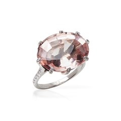 Chaumet 18k White Gold Morganite Attrape-Moi-Toile de Givre Cocktail Ring