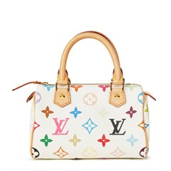 Louis Vuitton White Coated Multicolor Monogram Canvas Mini HL Speedy