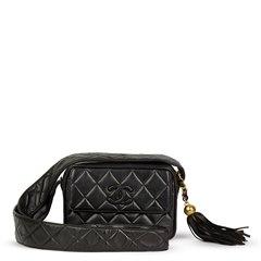 Chanel Black Quilted Lambskin Vintage Leather Logo Fringe Camera Bag