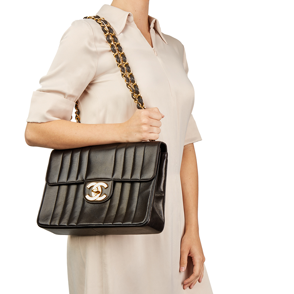 1a0497ffdf47a8 CHANEL BLACK VERTICAL QUILTED LAMBSKIN VINTAGE JUMBO XL FLAP BAG ...