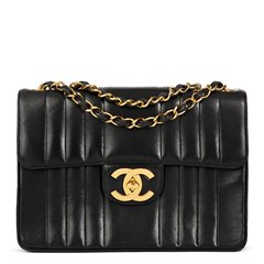 Chanel Black Vertical Quilted Lambskin Vintage Jumbo XL Flap Bag