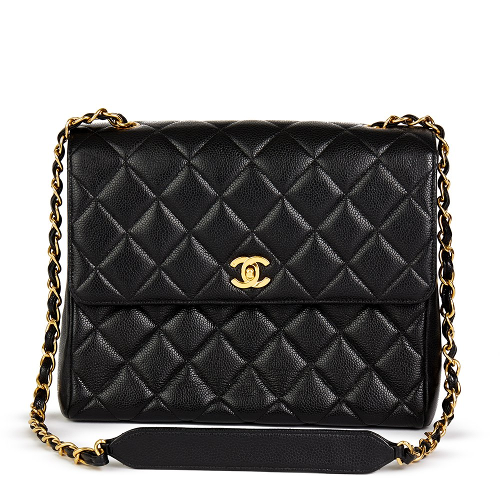 ec3a882ca26983 Chanel Black Quilted Caviar Leather Vine Clic Single Flap Bag. Chanel Clic  Single Flap Bag 1995 Hb1953 Second Hand Handbags