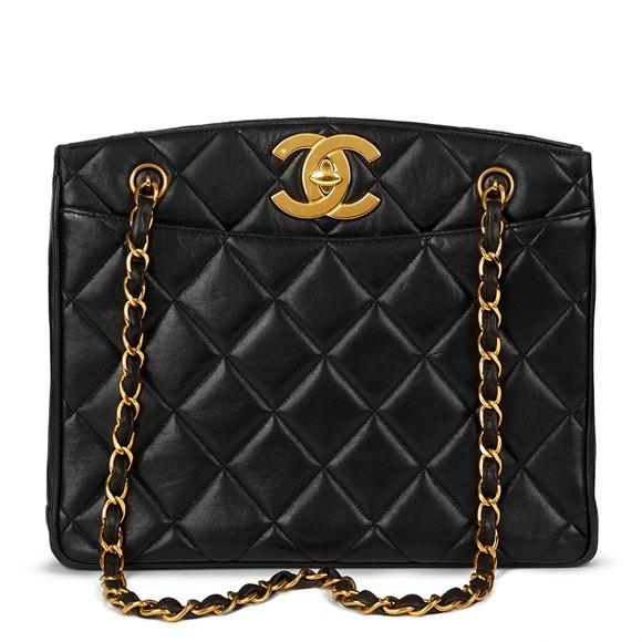 Chanel Black Quilted Lambskin Vintage XL Timeless Shoulder Bag