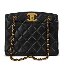 Chanel Black Quilted Lambskin Vintage XL Timeless Shoulder Bag