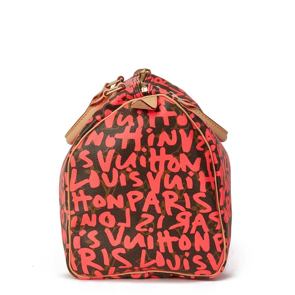 15b382534d89 Louis Vuitton Brown Coated Monogram Canvas Stephen Sprouse Pink Graffiti Speedy  30