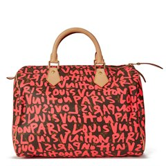 Louis Vuitton Brown Coated Monogram Canvas Stephen Sprouse Pink Graffiti Speedy 30