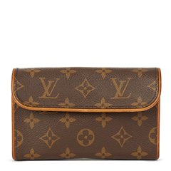 Louis Vuitton Brown Coated Monogram Canvas Pochette Florentine