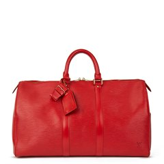 Louis Vuitton Red Epi Leather Vintage Keepall 45