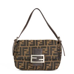 Fendi Brown Monogram Canvas Mini Baguette