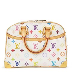 Louis Vuitton White Coated Multicolor Monogram Canvas Trouville