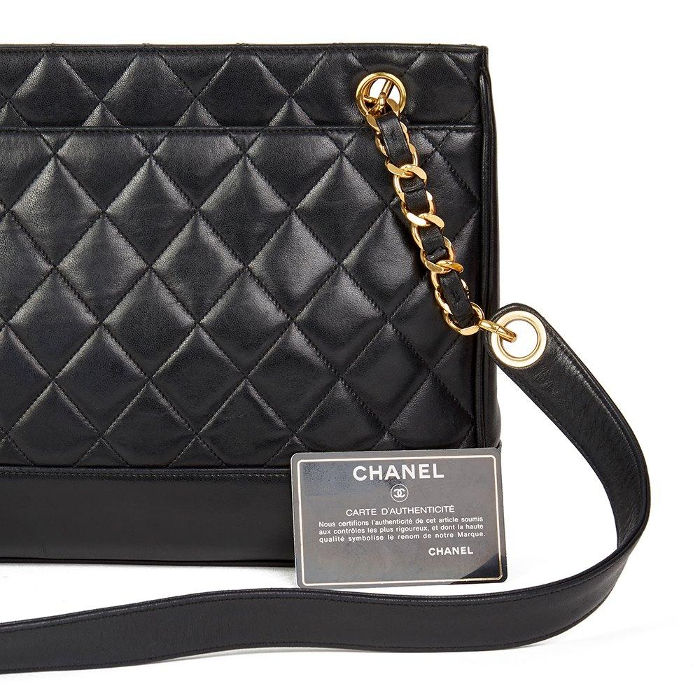Chanel Black Quilted Lambskin Vintage Timeless Shoulder Bag
