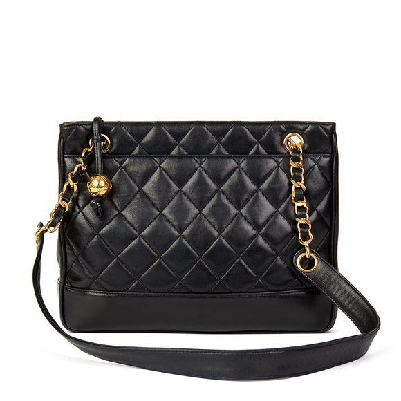 Chanel Black Quilted Lambskin Vintage Timeless Shoulder Bag