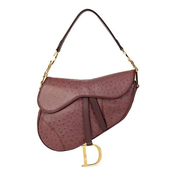 Christian Dior Violet Ostrich Leather Saddle Bag
