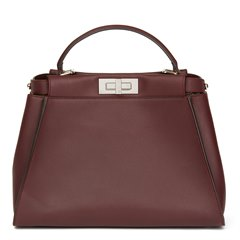 Fendi Burgundy Calfskin Leather Regular Peekaboo with Flowers