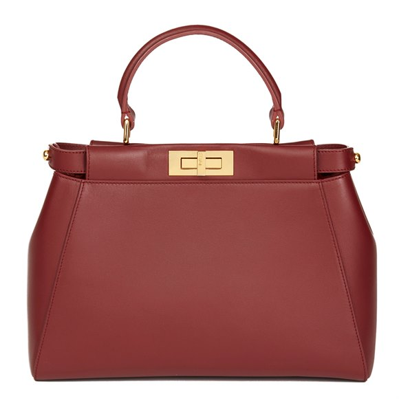 Fendi Cherry Red Calfskin Leather Regular Peekaboo