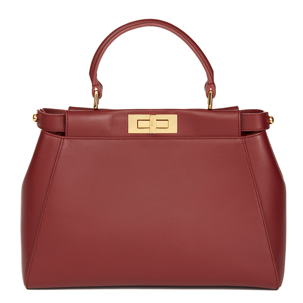 b550c6bb3a6d FENDI CHERRY RED CALFSKIN LEATHER REGULAR PEEKABOO HB1993