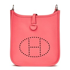 Hermès Rose Azalee & Rouge Pivoine Togo Leather Evelyne III TPM Amazone
