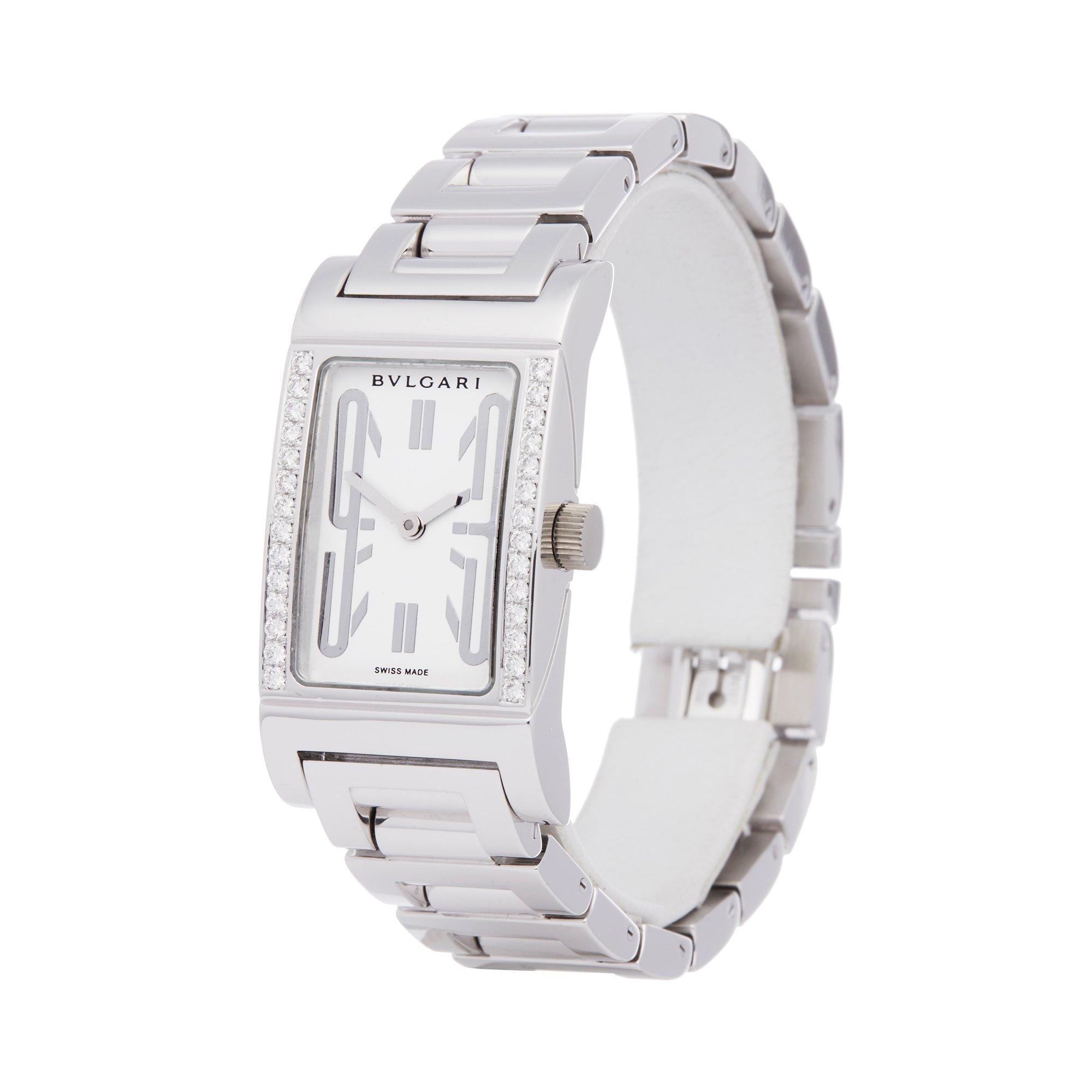 Bulgari Rettongolo Diamond 18K White Gold RT W39 G