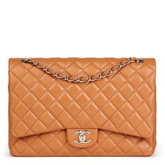 Chanel Honey Beige Quilted Caviar Leather Maxi Classic Double Flap Bag