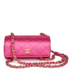 Chanel Magenta Quilted Satin Mini Barrel Wristlet