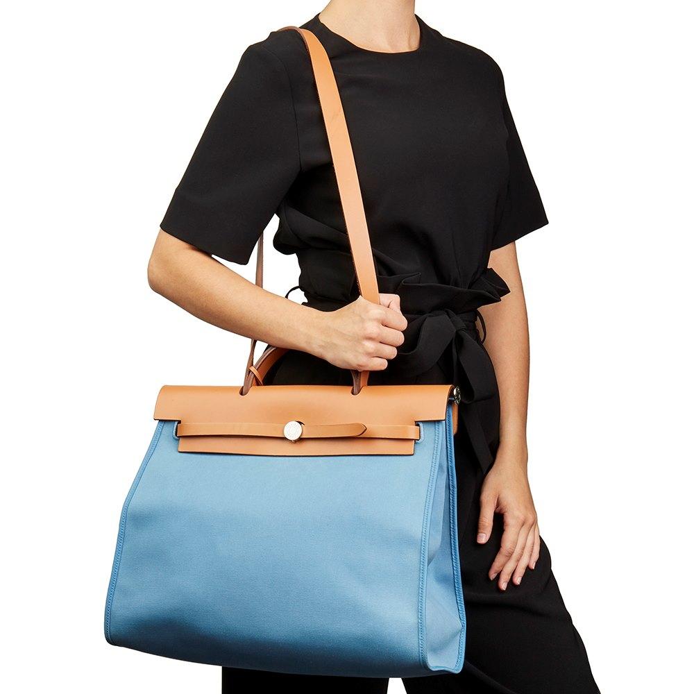 9b23e1fafa76 Hermès Vache Hunter Cowhide Leather   Bleu Natural Canvas Herbag Zip 39