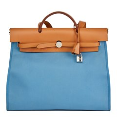 Hermès Vache Hunter Cowhide Leather & Bleu Natural Canvas Herbag Zip 39