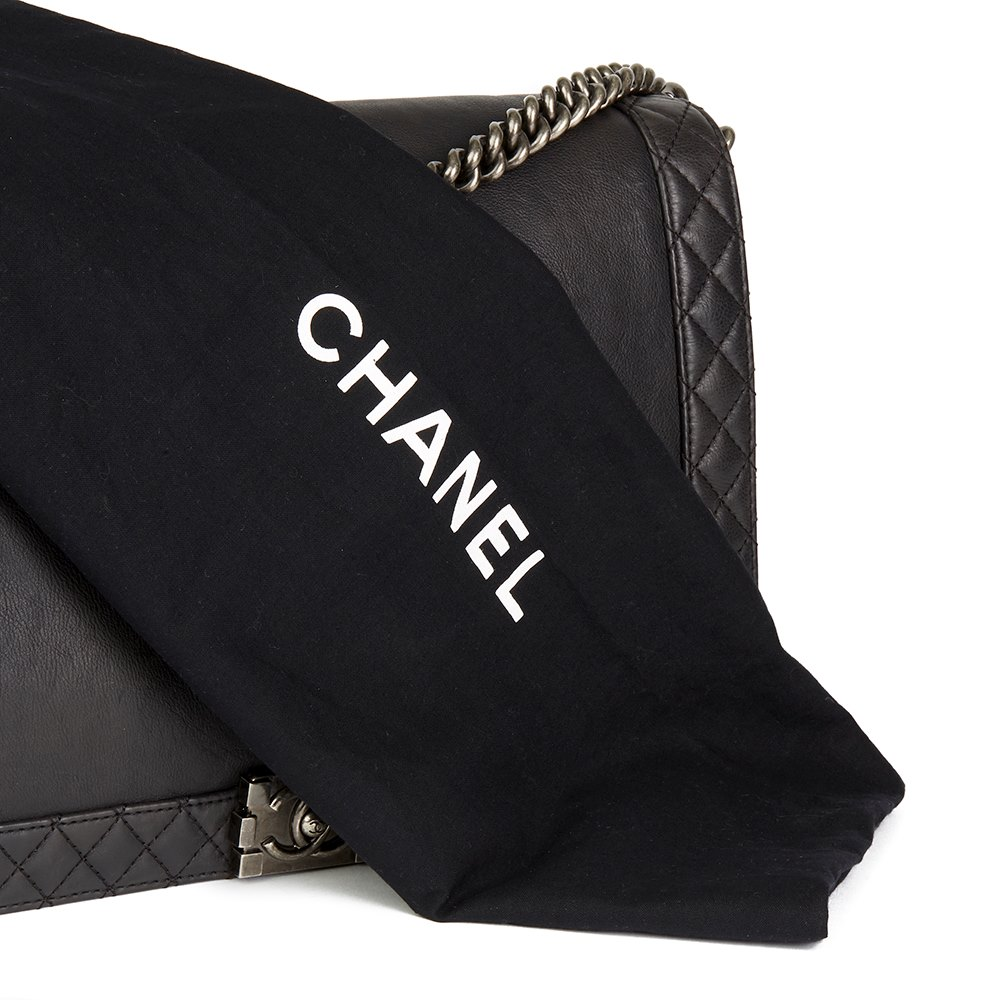 Chanel Black Quilted Calfskin Leather XL Le Boy Reverso