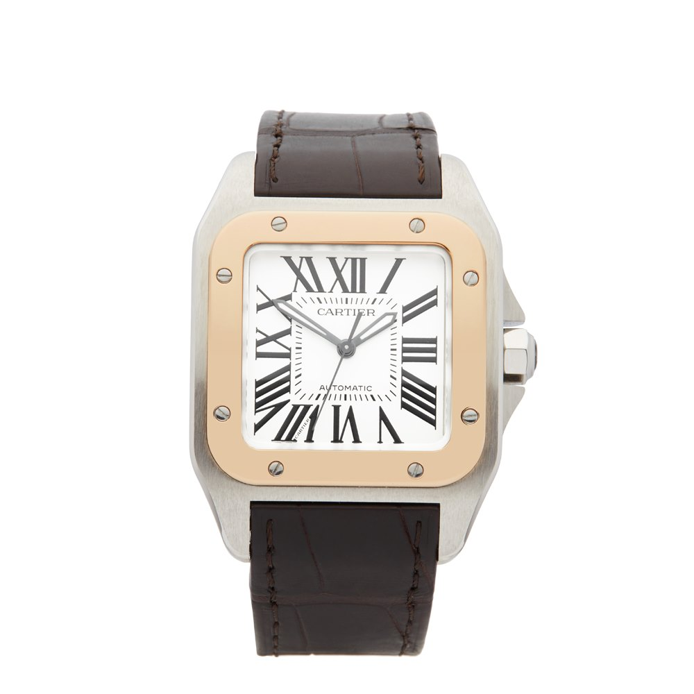 Cartier Santos 100 Stainless Steel & 18K Rose Gold W20107X7