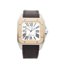 Cartier Santos Stainless Steel & 18K Rose Gold - W20107X7