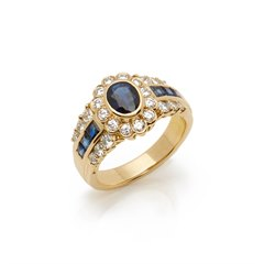 Cartier 18k Yellow Gold Sapphire & Diamond Vintage Ring