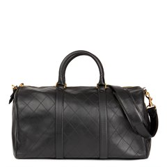 Chanel Black Quilted Lambskin Vintage Timeless Boston 45