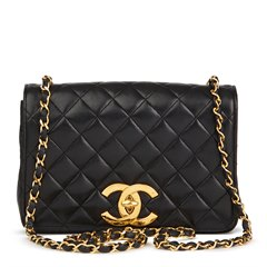 Chanel Black Quilted Lambskin Small Vintage XL Classic Single Full Flap Bag