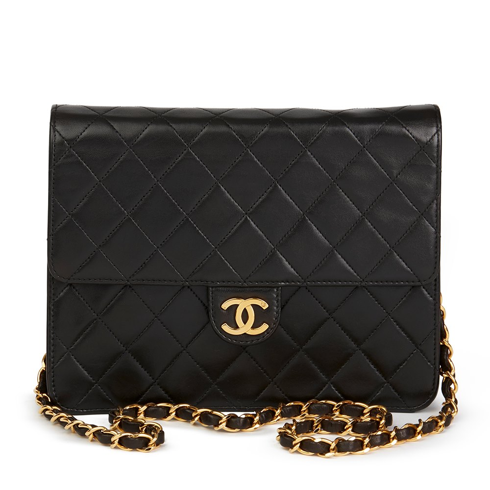 b80806c3c66a Chanel Black Quilted Lambskin Vintage Small Classic Single Flap Bag
