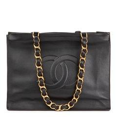 Chanel Black Lambskin Vintage Jumbo XL Timeless Shopping Tote