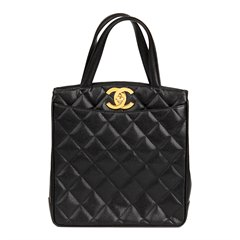 Chanel Black Quilted Caviar Leather Vintage XL Timeless Tote