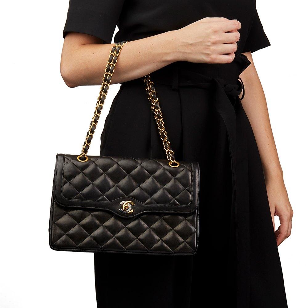 9535cbcbea79 Chanel Black Quilted Lambskin Vintage Large Paris Limited Double Flap Bag
